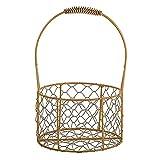 RThNDM 2 cestas pequeñas de oro para niña de las flores – Cesta de boda de metal con asa hecha a mano de metal de hierro geométrico cesta de almacenamiento de alambre para decoración del hogar