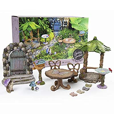 Adult Fairy Garden Kit with Miniature Furniture and Purple Accents