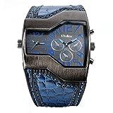 Avaner Grande Reloj de Hombre Militar Deportivo Reloj de Pulsera Azul, Correa de Cuero Ancha Reloj de Piloto 2 Zonas de Horarios Diferentes, 3 Subesferas Decorativas