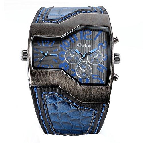 JewelryWe Herrenuhren Analog Quarz Casual Armbanduhr Blau Leder Armband Sportuht mit Digital Zifferblatt Vatertagsgeschenk