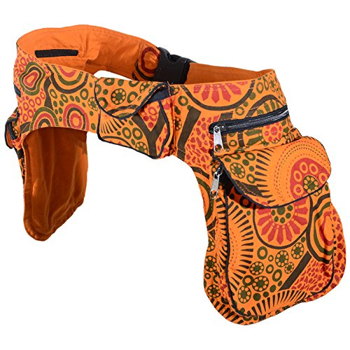 KUNST UND MAGIE Doppel Bauchtasche Sidebag Gürteltasche Festivaltasche Hippie Goa, Farbe:Orange/Rot