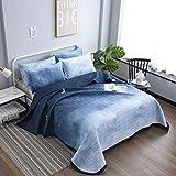 Qucover Tagesdecke Bettüberwurf 220x240cm für Doppelbett Gesteppte Sommerdecke aus Polyester mit Kissen Set Romantisches Muster Sterne und Himmel Blau