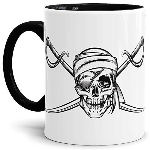 Skull-head Becher/Totenkopf-Tasse Innen & Henkel Schwarz mit Aufdruck Pirat mit Augenklappe und Saebel