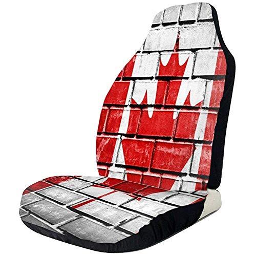 De Canadese Vlag Verf Op De Muur Auto Stoelhoezen Universele Auto Voorstoelen Beschermer Accessoires