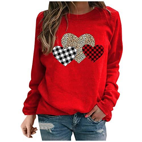 Yowablo Damen Langarmshirt Pullover Bluse Tops Frauen Mode Langarm Liebe Gedruckte Pullover Lockern (XXL,3rot)