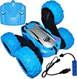 Remote Controlled Double-Sided Stunt Car with USB Charging Cable and Rechargeable Battery (Blue) - EX ELECTRONIX EXPRESS