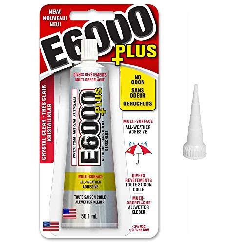 E6000 Plus - Pegamento para manualidades y boquilla de punta corta original, para tela, madera, joyas, cristal, gemas, cuentas adhesivas, etc. 56.1ml