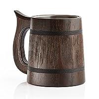 En chêne véritable: cette chope à bière en bois est fabriquée en bois de chêne véritable de haute qualité. Nous avons soigneusement sélectionné le meilleur bois pour une construction robuste et une belle apparence. Doublure en acier inoxydable: l'i...