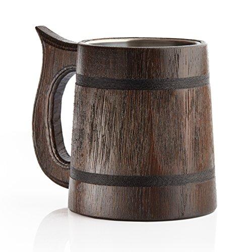 Jarra grande de cerveza de madera, roble, hecha a mano con una sorprendente destreza y materiales de calidad, revestida de metal, resistente, robusta, duradera