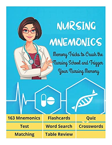 NURSING MNEMONICS - 163 Mnemonics, Flashcards, Quiz, Test, Word Search, Crosswords, Matching, Table Review: Best Help Studying for NCLEX, Memory ... School and Trigger Your Nursing Memory