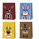 16 PCS Party Gift Bags for Five Night at Freddy's Party Supplies, Birthday Party Gift Goody Treat Candy Bags, Including 4 Patterns for Kids Birthday Party Decorations and Supplies