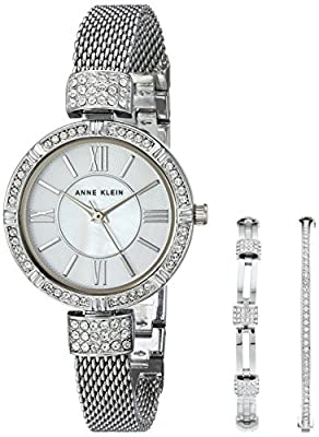 Anne Klein Womens Swarovski and Mother of Pearl Watch and Bangle Set