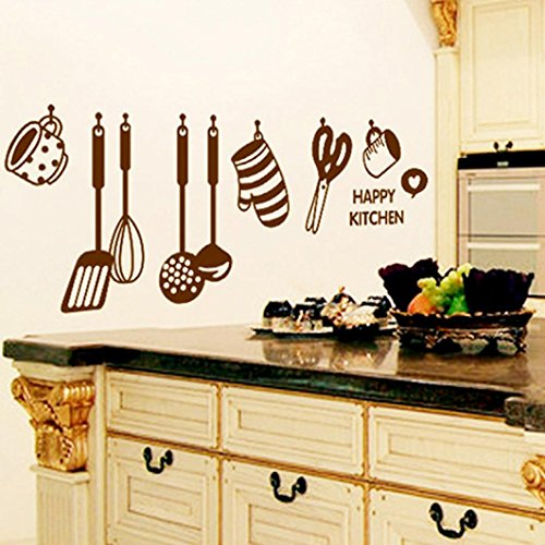 PHOTNO DIY Removable Happy Kitchen Wall Decal Vinyl Home Decor Wall Stickers New