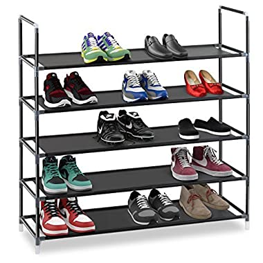 Halter 5 Tier Stackable Shoe Rack Storage Shelves - Stainless Steel Frame Holds 25 Pairs Of Shoes - 35.75  x 11.125  x 34.25  - Black