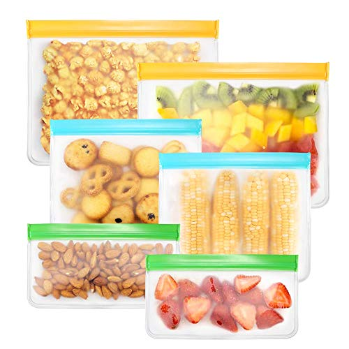 Houkiper Bolsas Reutilizables, 6 Pack Bolsas Congelar Reutilizables para Almacenamiento de...