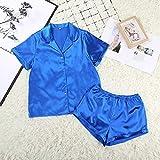 FYMIJJ Conjunto de Pijama,Women Sleepwear Summer Pajama Set Pink Turn Down Collar Faux Silk Satin Blue Short Sleeve Casual Female Pijama Home Wear Shorts,Blue,M