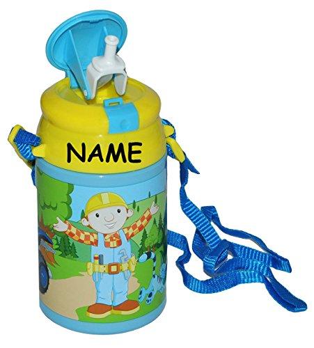 alles-meine.de GmbH Trinkflasche - Bob der Baumeister incl. Name - Pop Up Flasche 550 ml auslaufsicher aus Kunststoff - Sportflasche für Kinder - Jungen Mixi Baggi Bagger Auto - ..