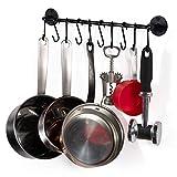 "Wallniture Gourmet Kitchen Rail Pot Pan Lid Organizer Rack with 10 Hooks Black 16"" Inch"
