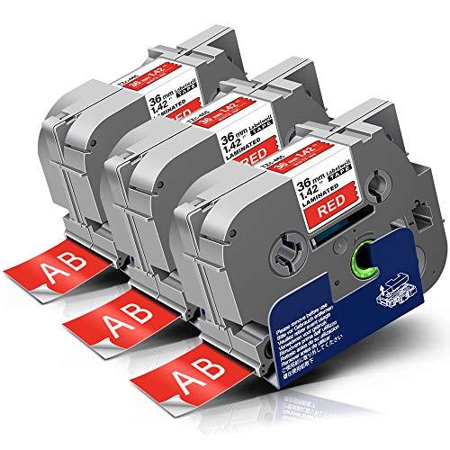 3x Labelwell Tzc-465 36mm Kompatibel Schriftband Ersatz für Brother Tz TZe-465 TZe465 TZ465 Rot auf Weiß für Brother P-touch RL-700S PT-530 550 P950NW P900W E850T PT-3600 9200PC Beschriftungsgerät