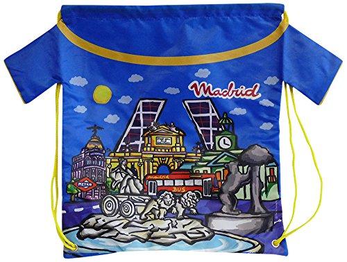 Nadal, Fiesta Souvenirs 393112, Mochila con Diseño Monumentos Madrid, Acrílico y Algodón, Azul, 40x34x0.5 cm