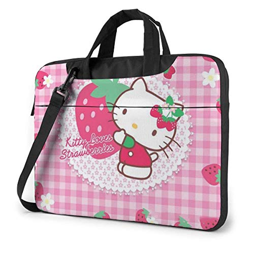 15.6 Inch Laptop Bag Kitty Love Strawberry Laptop Briefcase Shoulder Menger Bag Case Sleeve