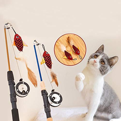 Fancylande, speelgoed, kattenspeelgoed, vissoort, veren, telescoop, grappig speelgoed voor huisdieren, kattenspeelgoed, interactief speelgoed voor katten