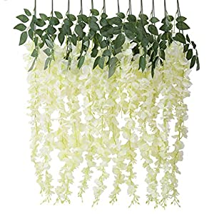 Houda – Decoración colgante con flores de seda artificial, 6 unidades, diseño de glicinia