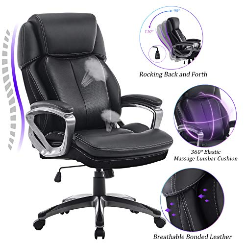 REFICCER Multifunctional Office Chair - 360°Movable Lumbar Support and Adjustable Tilt Angle High Back Bonded Leather Ergonomic Executive Computer Desk Chair Swivel Task Chair, Black