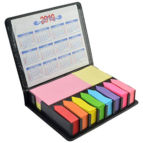 2000 Pieces Page Markers Tabs Page Flags Sticky Index Tabs Arrow Flag Tabs, Fluorescent Color Note Tabs Colored Page Markers Labels Sticky Notes Writable File Tabs Flags with PU Box, 11 Colors 3 Sizes