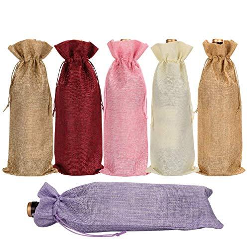 HMILYDYK Paquete de 6 bolsas para botellas de vino con cordón para botellas de 750 ml