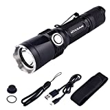 Tactical Flashlight Rechargeable with Power Indicator and Strike Bezel, 1380 Lumen, CREE XP-L, 5 Light Mode, IPX-8 Water-Resistant, 18650 Battery Included, for Camping, Hiking and Emergency (PS11)