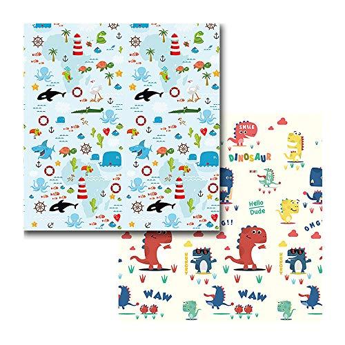 Takfuns Alfombrilla de juegos para bebé, plegable, antideslizante, extragrande, reversible, impermeable, portátil, de doble cara, para niños pequeños y bebés ,200 * 180 * 1CM