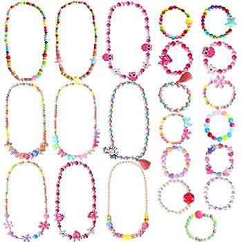 ONESING 22 Pcs Toddler Costume Jewelry Gift Princess Necklace Bracelet Set Girls Play Jewelry Kit Necklace Bracelet for Kids Play Dress Up