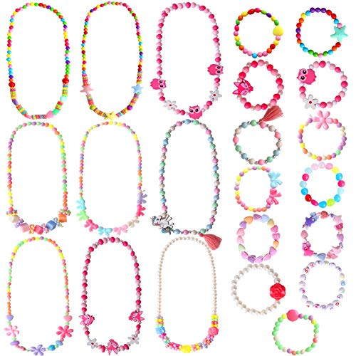 ONESING 22 Pcs Toddler Costume Jewelry Princess Necklace Bracelet Set Girls Play Jewelry Kit Necklace Bracelet for Kids Play Dress Up
