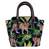 Rivets - Bolso de piel para mujer, con asa superior, para ir de compras, trabajo, campus y tigre negro en la selva