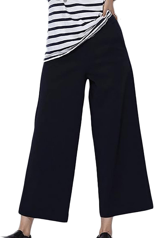 Papijam Womens High Waist Straight Leg Solid color Casual Capri Pants