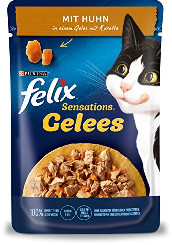 FELIX Sensations Gelees Katzenfutter nass, mit Huhn & Karotte in Gelee, 26er Pack (26 x 85g)