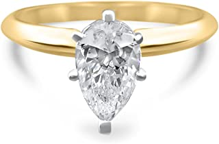 Eternal Jewelry CZ Ring Pear Yellow Gold Wedding Engagement Thin Band 14k Cubic Zirconia Swarovski Simulant Solitaire Teardrop .75ct