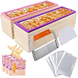 YGEOMER 2pcs 42oz Loaf Soap Mold, Rectangular Silicone Mold Set for Making Soap, with Wooden Boxes, 2 Cutters and 100pcs 4x6 inches Bags