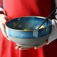 28GRJ 大スープラーメンボウルフルーツサラダパスタボウルボウルクリエイティブセラミック食器電子レンジ安全なブルーをサービングミキシング (Size : LARGE)