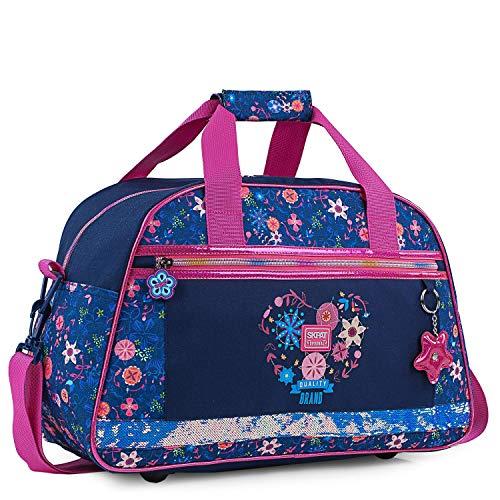 SKPAT - Bolsa para niña de Gimnasio Personalizada con Motivos Florales y Brillos Purpurina, Incluye Llavero a Conjunto de, Ligera y práctica 131545, Color Marino