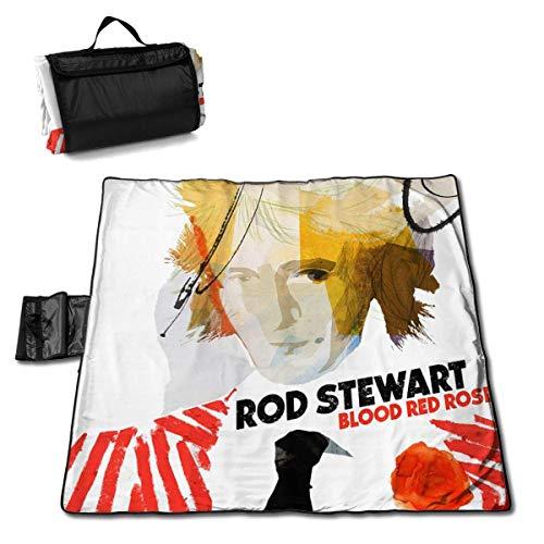 ongzhubaih Rod Stewart Blood Red Roses Album Picknickdecke Große wasserdichte kühle Outdoor-Picknickmatten Camping Stranddecken mit Tote und Tasche