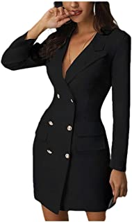 neveraway Women Custom Fit Outwear Double-Breasted Sexy Lapel Trench Coat Jacket