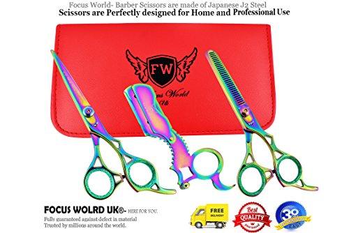 Focus World Ciseaux de coiffure professionnels 16,5 cm Ciseaux de coiffure Coupe Coupe Coupe Coupe Coupe et Effilage 440C Haute dureté Rasoir élégant (Kit de barbier complet)