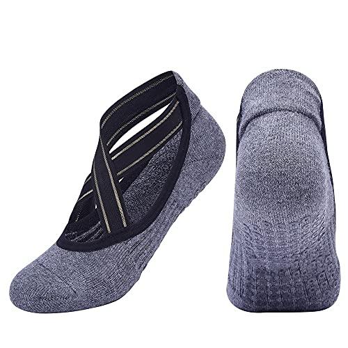 Diaod 2021 Nuevas Mujeres Calcetines de Yoga Antideslizante Toalla de Pilates Pilates Calcetines Transpirable Backless Barre Deporte Calcetines de Baile (Color : Gray, Size : EUR 35-40 US 4.5-8.5)