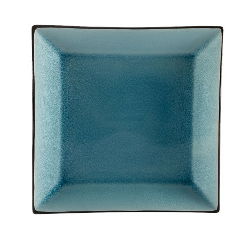 CAC China Japanese Style 5-Inch Lake Water Blue Square Plate, Box of 36