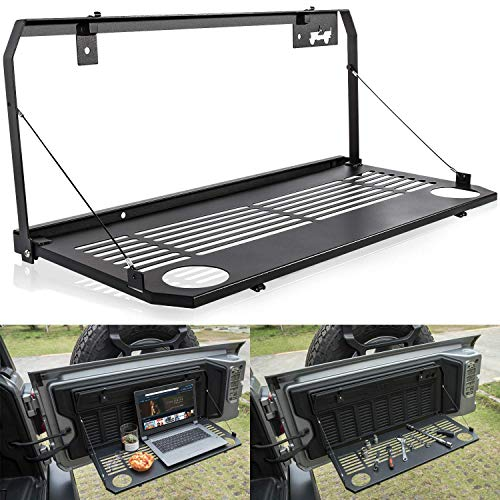 Bosmutus J-eep W-rangler JL Tailgate Table JL Rear Door Table Storage Cargo Shelf Rack Aluminum Alloy Matte Black Rear Foldable Back Shelf fit for J-eep W-rangler JL JLU【Instruction Include】
