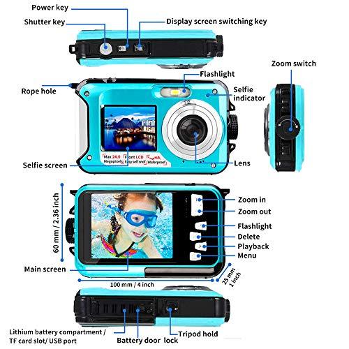 Waterproof Camera Full HD 1080P Underwater Camera 24 MP Video Recorder Selfie Dual Screen DV Recording Waterproof Digital Camera for Snorkeling