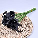 Silk Flower Arrangements Artificial and Dried Flower 5pcs/Lot Mini PU Calla Lily Artificial Flowers Bouquet Bunch Fake Flower Bouquet Table Home Wedding Decoration Fall Decor - ( Color: Black; Size: 5pcs )