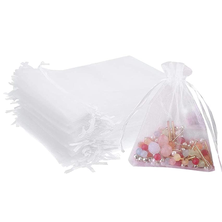 Outdoorfly 50PCS Drawstring Organza Bags 5x7 Inches White Transparent Jewelry Favor Pouches Baby Shower Party Wedding Gift Bags Chocolate Candy Bags(50PCS White)